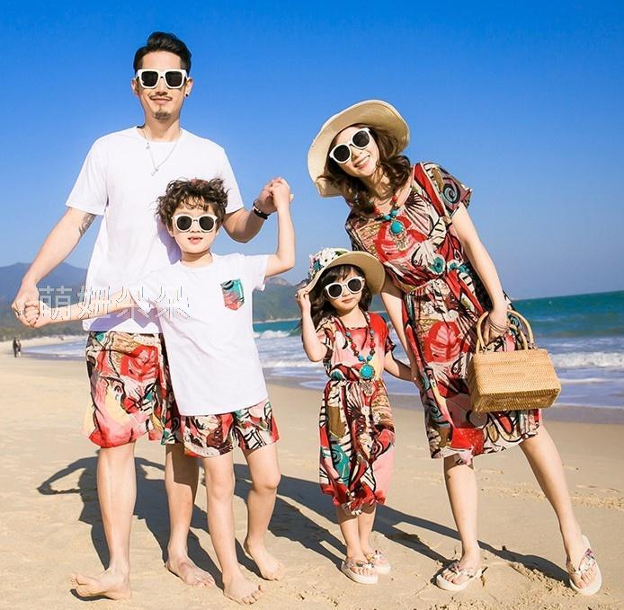 ♥萌妞朵朵♥沙灘度假全家親子裝FC011/媽媽/童裝/親子裝/兒童裝/全家裝/母女裝/情侶裝