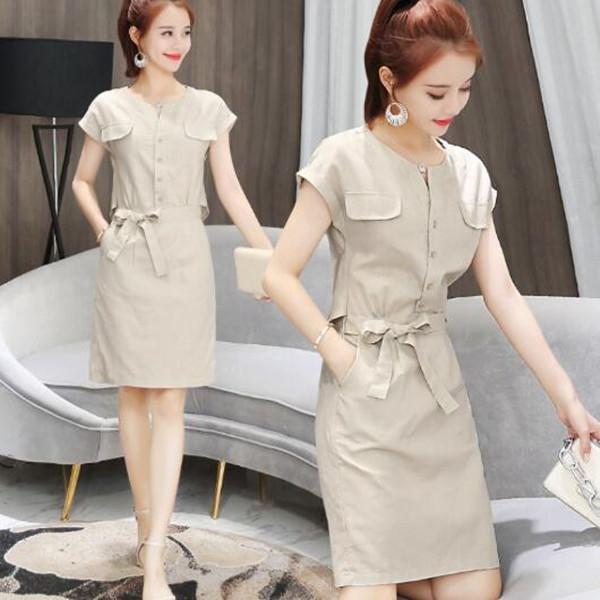 洋裝 韓版 亞麻 OL 連身裙  W523 一級棒Al新品 全館免運