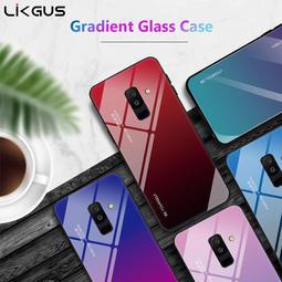 三星 A8 A8+ plus 2018版 手機殼 時尚 漸變 鋼化玻璃殼 全包 防刮 軟邊 硬殼 流光 鏡面 保護殼