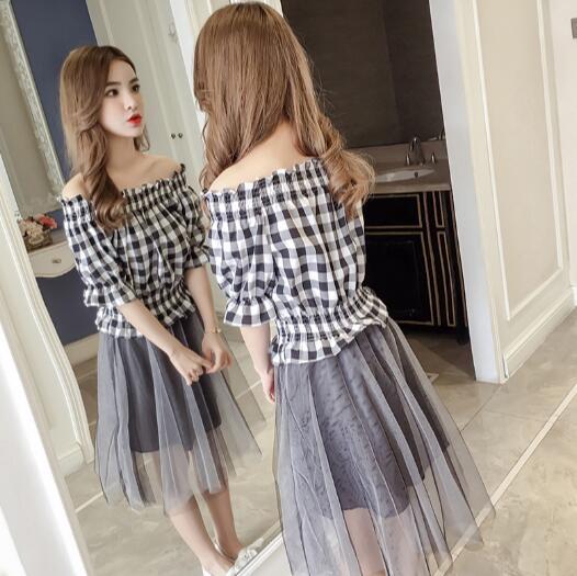 一字領洋裝 網紗拼接 短袖 格子襯衫假兩件 連身裙 韓版(KS0538) 一級棒Al新品 全館免運