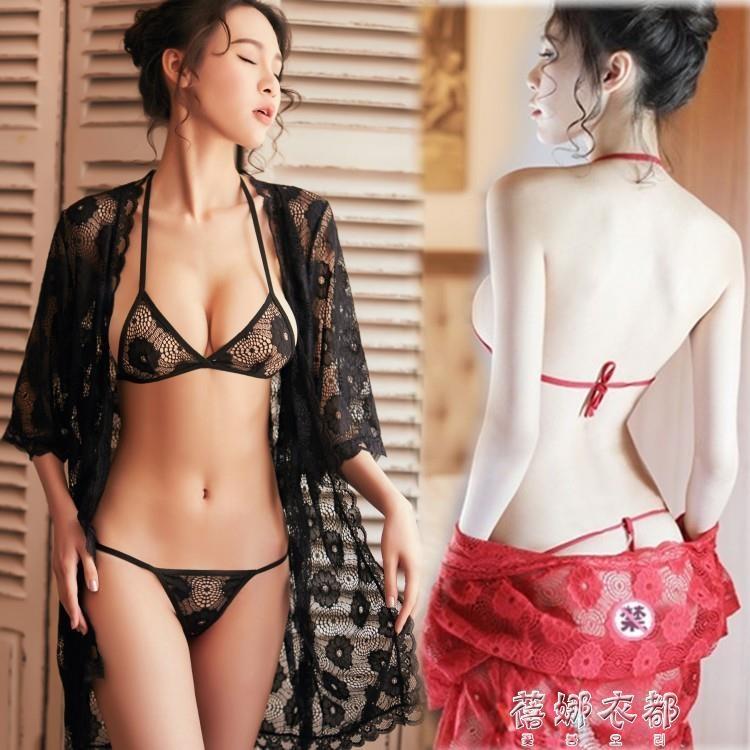 性感三點透視睡衣激情套裝胸罩蕾絲小胸四件套睡裙