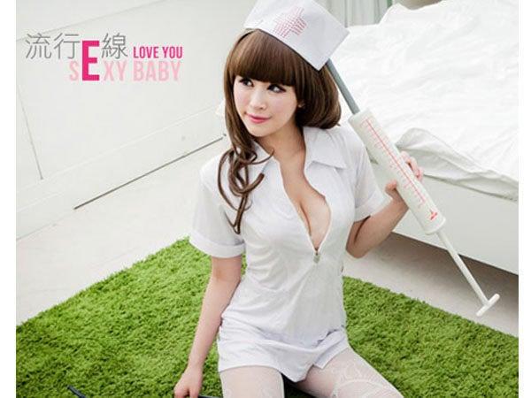 性感護士服角色扮演服cosplay服裝~情人夜短袖洋裝經典護士制服夜店派對服 浪漫白*流行E線A409