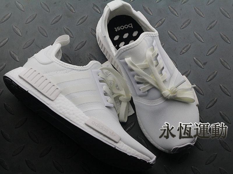 timeless design 32a57 105e1 【永恒運動】Adidas NMD R1 BOOST 純白 全白 休閒運動跑步鞋 男女鞋BA7245