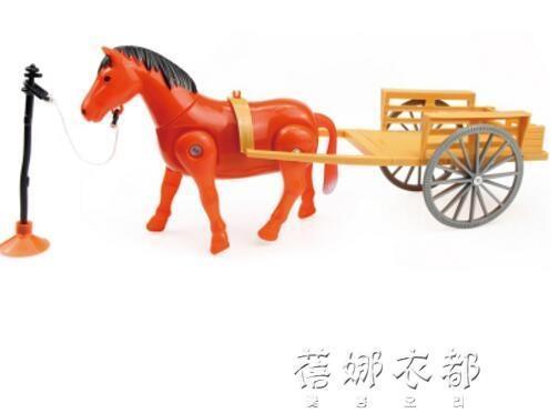 電動小馬玩具仿真會走路的馬 兒童玩具發聲馬車旋轉轉圈繞樁馬YYPYYP