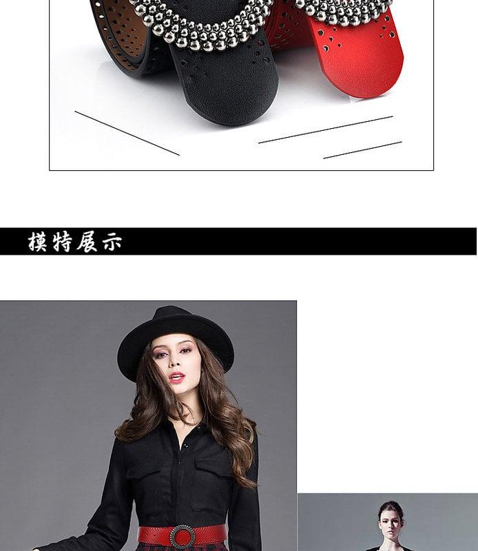 【微笑商城】韓國女士真皮皮帶韓版百搭寬腰帶時尚連衣裙鏤空寬腰封女黑色紅色