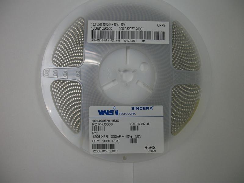 MLCC電容-1206 X7R 1uF 50V(2000PCS)