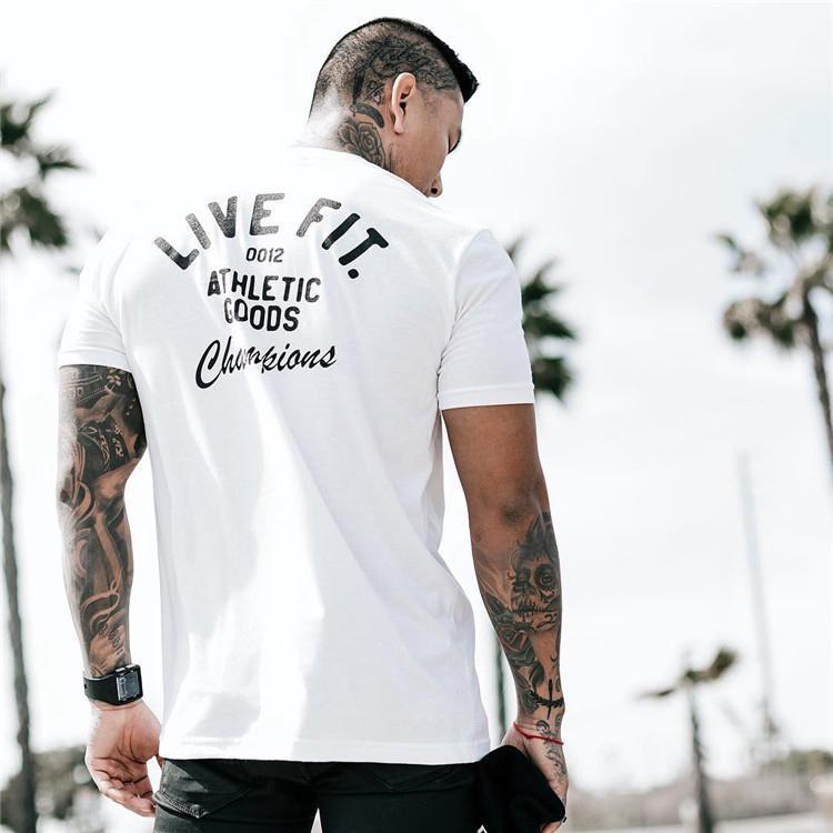 S-SQUARE【TG01】春夏新款 潮男字母短袖棉T 運動彈力修身圓領短袖T恤 男裝 三色