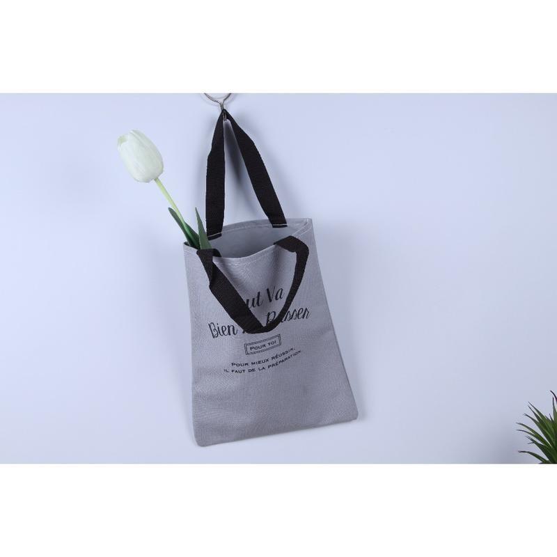 日本精品日本雜誌附錄 藍灰色加厚帆布字母手提袋/逛街手提袋/寶寶零食袋/手提棉布袋/購物袋