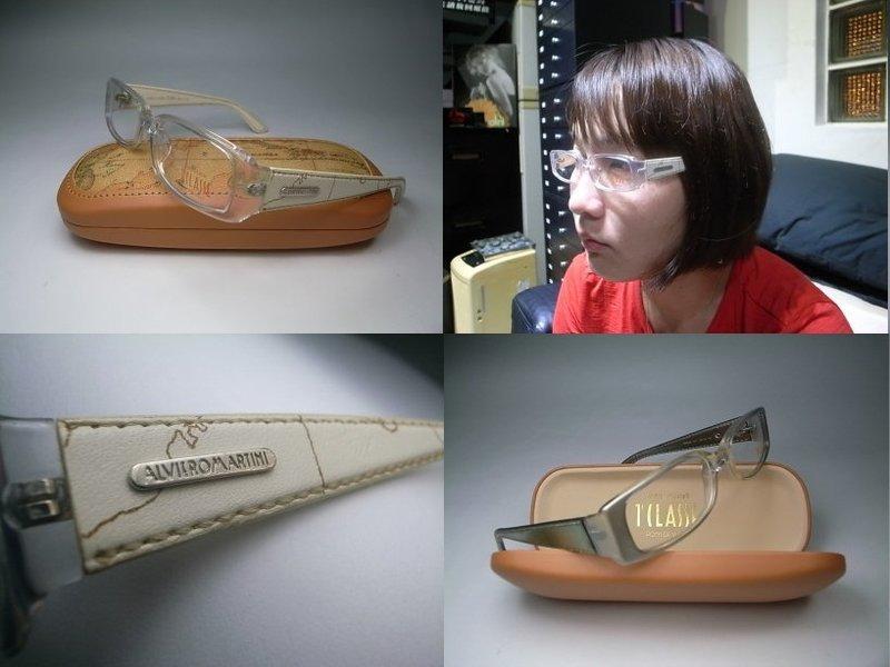 【信義計劃眼鏡】公司貨 ALVIERO MARTINI 地圖眼鏡 膠框皮革鏡架 可配高度數小框 搭配地圖包皮鞋皮帶皮夾護照夾手錶