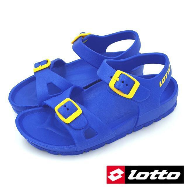 【MEI LAN】義大利 LOTTO (童) 輕量 EVA 防水 雙扣環 休閒 勃肯 涼鞋 0276 藍 另有黑,玫紅色
