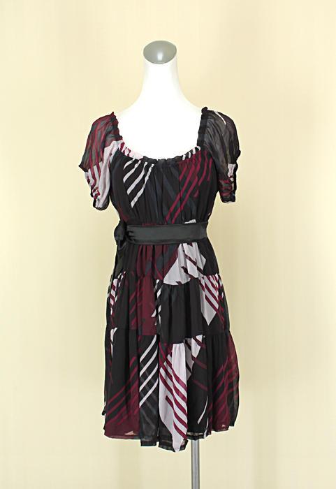 貞新二手衣 MORGAN 專櫃 紫紅線條羅馬領露背短袖雪紡紗洋裝F號(38933)