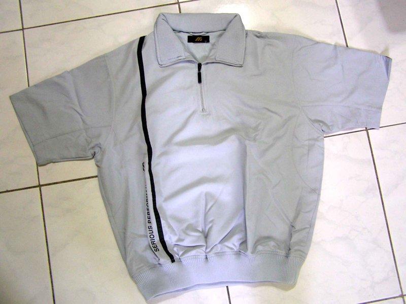 MIZUNO PLUS 短袖有領銀灰色防風防波水防風衣特價1150元