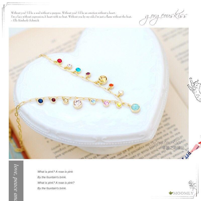 【Moonly】慕莉珠寶盒‧韓劇金秘書為何那樣點點水鑽項鍊短項鍊頸鍊/超氣質