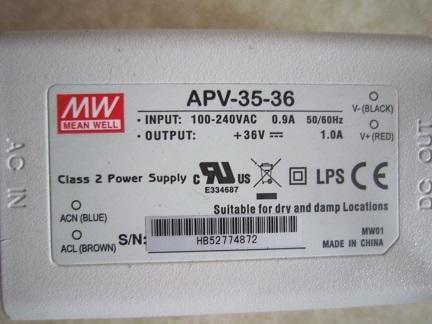 LED光源電源供應器 變壓器 明緯 MW DC36V 1A 35W APV-35-36