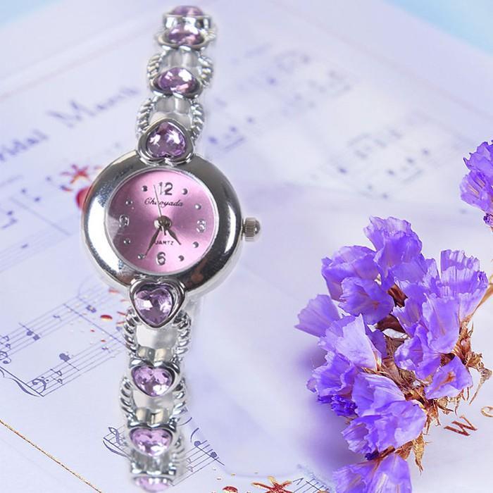【熱賣】現貨  包郵時尚女士手表女表韓版學生女孩時尚潮流心形手鏈表時裝水鉆表