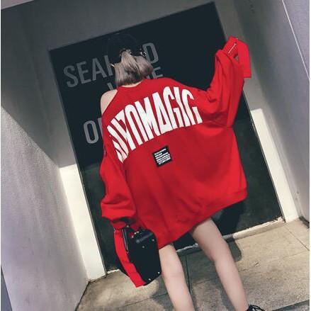 韓系韓版學院風復古休閒性感百搭寬鬆寬版修身顯瘦個性複古簡約百搭學院風毛字母印花紅色蝙蝠袖套頭chic衛衣