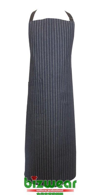 【食尚家】-餐廳圍裙/廚師圍裙/歐美休閒風工業風牛仔圍裙/單寧條紋圍裙/藍底白條紋丹寧工作圍裙-膝下版