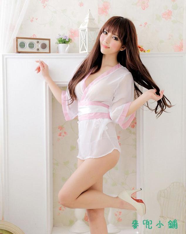 麥兜小鋪-免脫性感情趣性感日式網紗和服 情趣制服浴袍情趣內衣和服套裝批