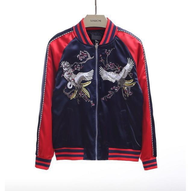 歐美大牌街頭潮流復古中國風仙鶴刺繡甜美緞面拼色寬鬆寬版少女運動bf風棒球飛行夾克外套上衣女修身顯瘦好搭