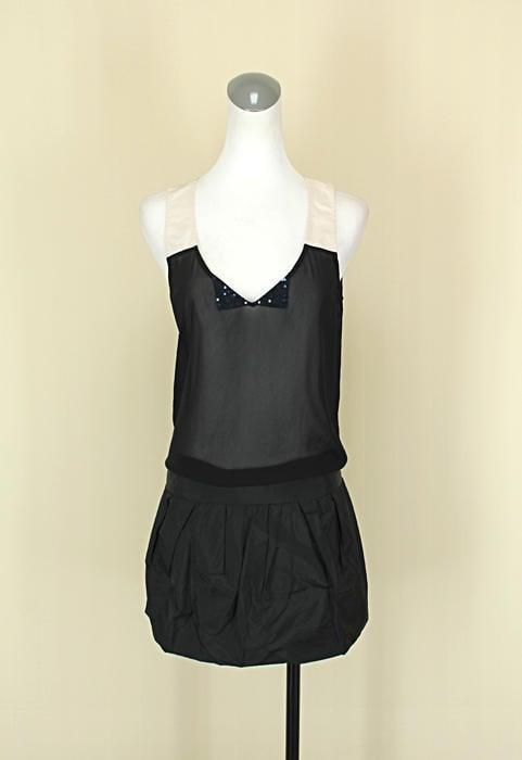 貞新二手衣 ECCO 葉珈玲 黑色V領無袖雪紡紗緞面洋裝F號(38942)