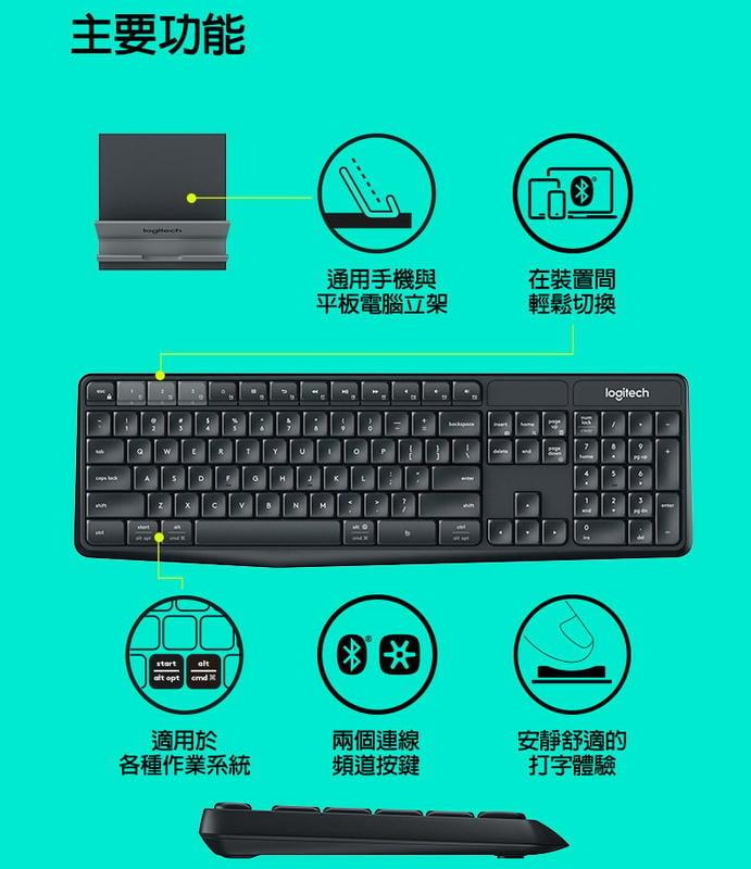 (郵寄免運費含稅一律附發票,27年公司實體店面)羅技K375s 跨平台無線/藍牙 鍵盤支架組合