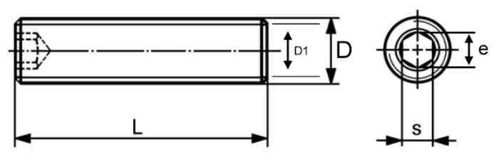 YJF - 不鏽鋼304 (白鐵) 內六角無頭止付螺絲 尺寸齊全 平頭固定內六角螺絲