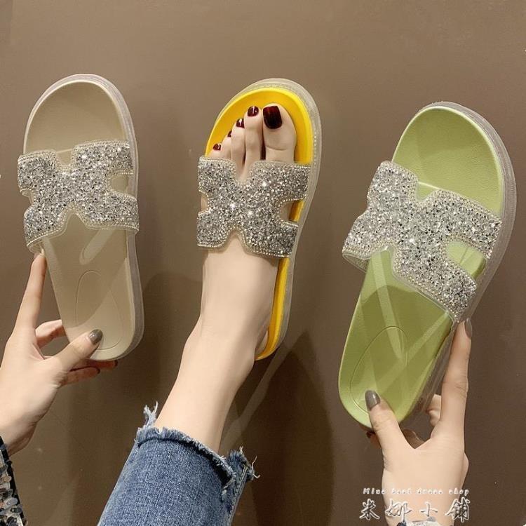 網紅厚底拖鞋女2020夏季時尚外穿水鉆涼拖鞋超火果凍鞋鬆糕一字拖 一級棒