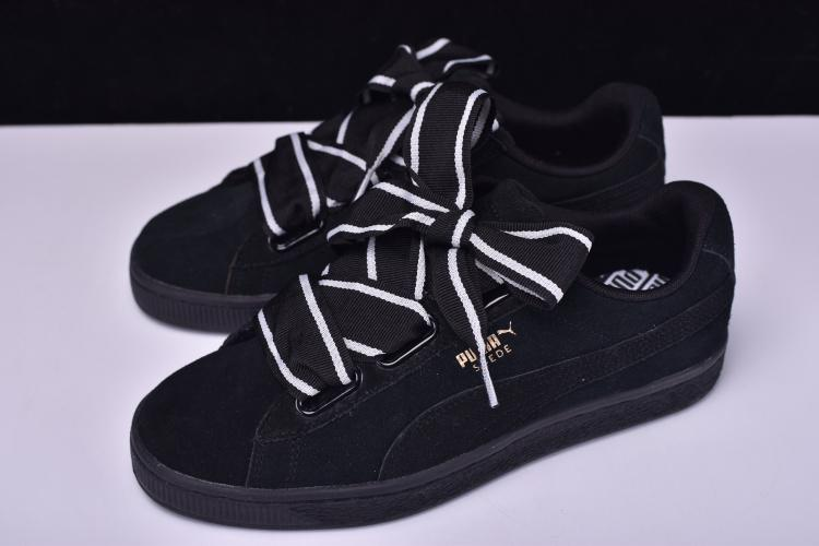 separation shoes 1b3e3 eaa52 Puma Basket Heart Patent Wn's 全黑 低幫 麂皮 蝴蝶結 休閒 運動 364084-01