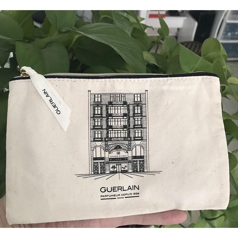 Guerlain嬌蘭2108贈品 套組拆出 小樓圖案薄款手拿包/零錢包/收納袋/化妝包/隨身包