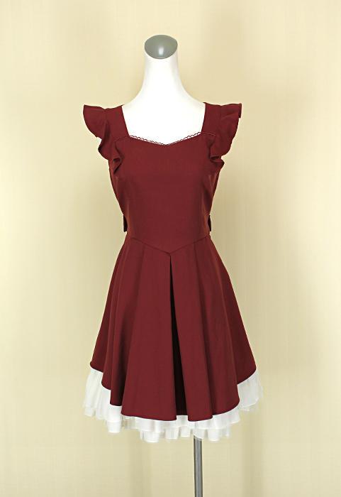 貞新二手衣 SECRET HONEY 日本 磚紅羅馬領無袖棉質洋裝澎裙M(2號)(38958)