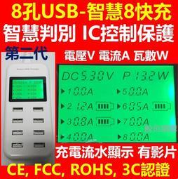 (現貨)專利第二代 8USB充電器 8孔USB智慧快充 5V8A(單孔最大2A) LED液晶顯示 手機充電器 8口usb