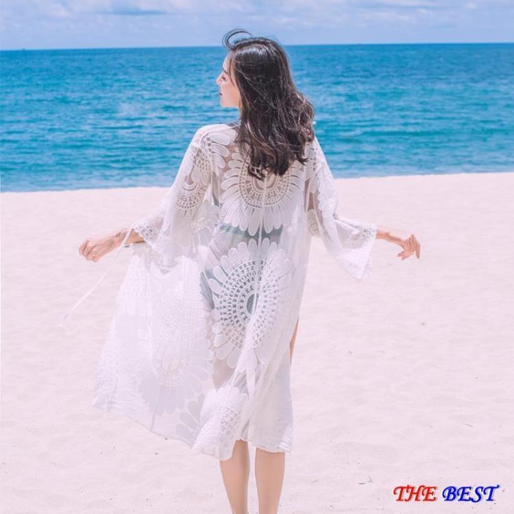 樂美優品比基尼罩衫 沙灘防曬衣 開衫 披肩 比基尼泳衣 罩衫 中長款 蕾絲 繡花薄外套