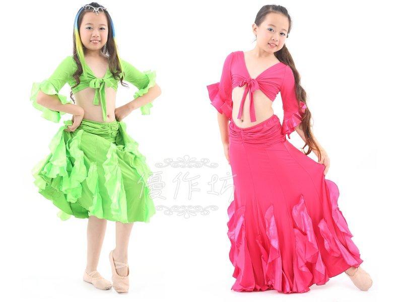 【優作坊】促銷款RT007_兒童肚皮舞套裝、兒童肚皮舞服、兒童舞蹈服飾、兒童國標舞衣