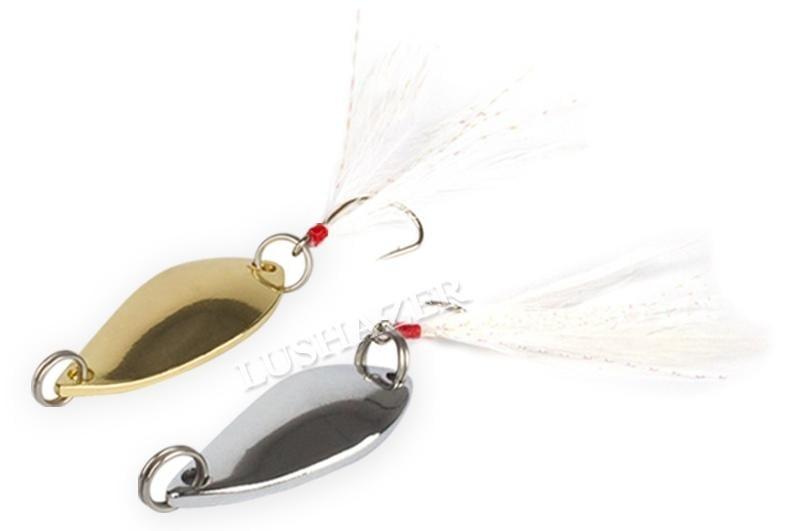 單鈎 馬口 羽毛亮片 勺型帶羽毛經典鐵板 2.5-3.5-5g 假餌 路亞