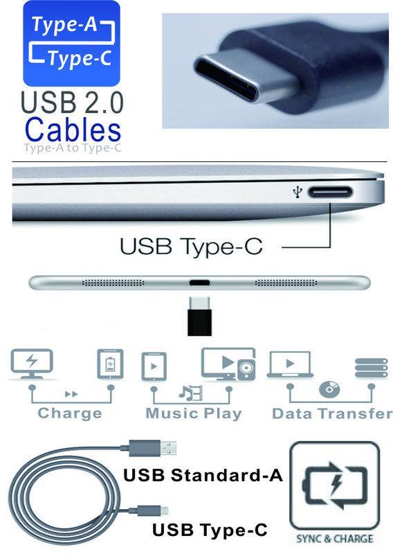 [HTC 10/U11適用] USB2.0 Type-C公轉A公 傳輸線 數據線 USB-C 充電線(100cm黑色)