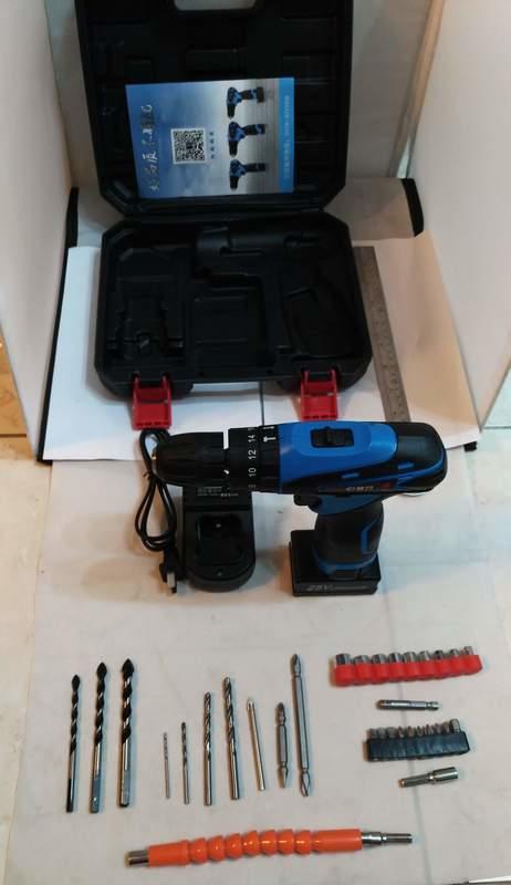 衝擊鑽 富格 25V雙電池 衝擊起子機 附塑盒鑽頭套筒組 充電電鑽/電動起子/電動工具 保固半年