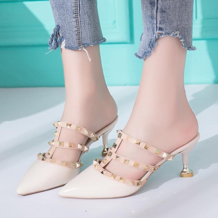 涼拖鞋女夏尖頭鉚釘細跟高跟氣質性感拖鞋包頭半拖鞋時尚外穿7cm