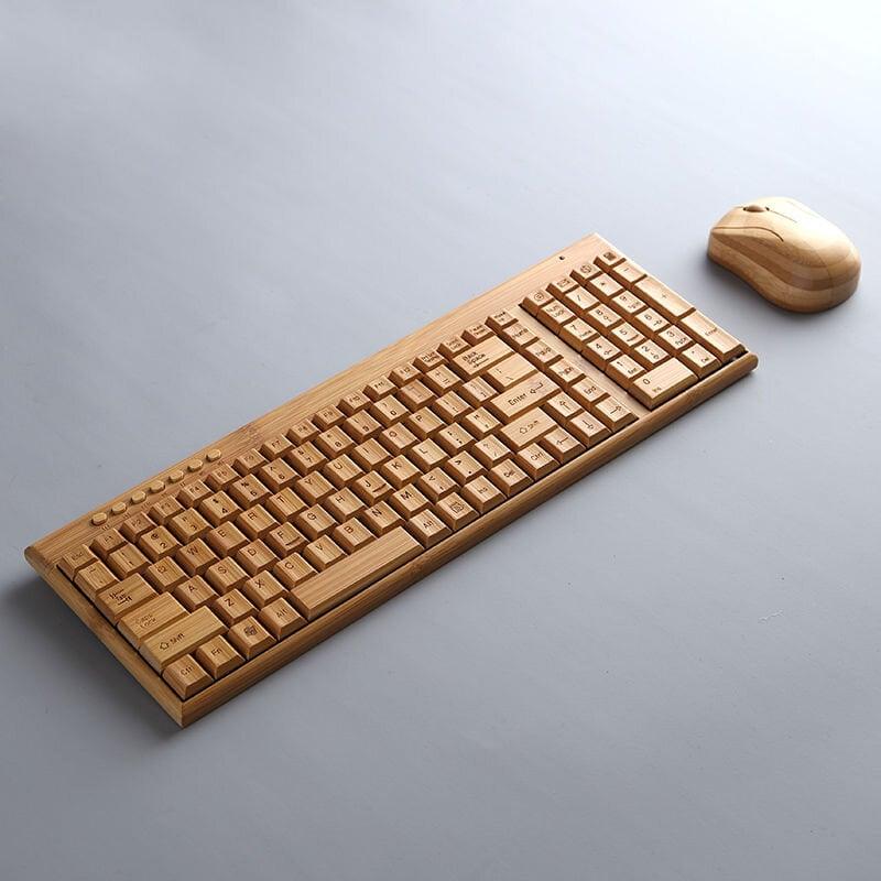全館免運 竹子制品 無線鍵盤鼠標兩區201套裝 竹鍵盤鼠標 竹質無線竹子鍵盤
