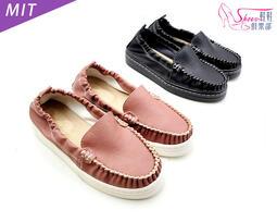 包鞋【鞋鞋俱樂部】【239-017】簡約素面MIT莫卡辛鞋.黑/粉