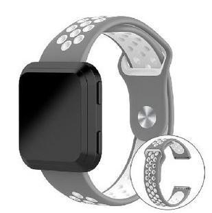 FITBIT VERSA(副廠)撞色矽膠錶帶(灰配白)