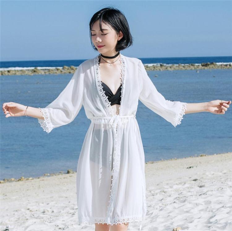 海邊比基尼罩衫中長款雪紡裙開衫防曬衣女沙灘度假裙外搭泳衣外套【潮咖地帶】