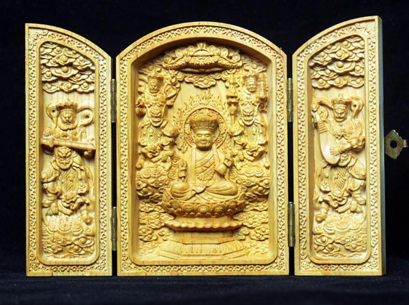 崖柏精雕地藏王菩薩三開盒 佛龕三開盒 佛像木雕 居家裝飾供奉擺件
