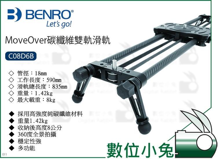 數位小兔【BENRO MoveOver 碳纖維雙軌滑軌 C08D6B】MoveOver 雙軌 滑軌 碳纖維 360全景