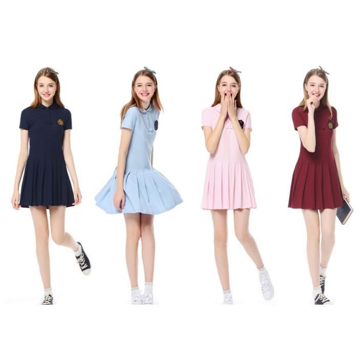 夏女裝英倫學院風中長娃娃領短袖小清新Polo顯瘦連衣裙子