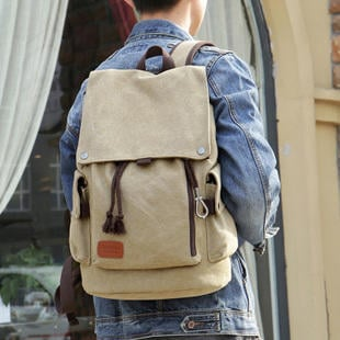 帆布後背包女復古男休閒包旅行背包正韓中學生書包免運