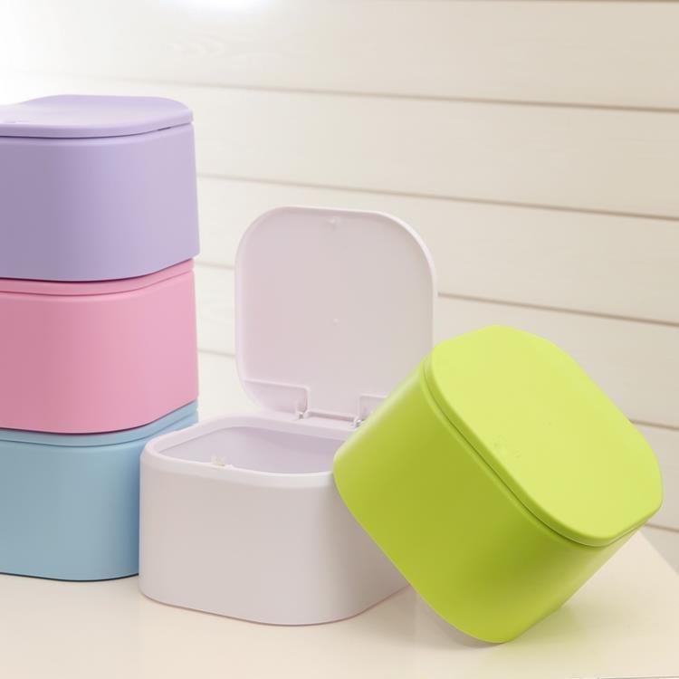 迷你按壓式辦公室桌面垃圾桶蓋茶幾垃圾桶床上帶蓋創意小垃圾桶【潮咖地帶】