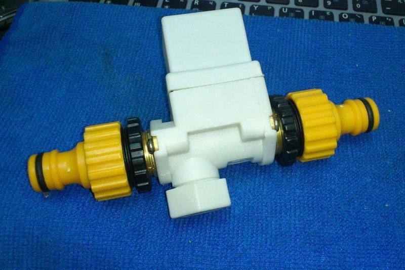 12V有壓常閉電磁閥+兩頭奶嘴接頭 適用自來水供水
