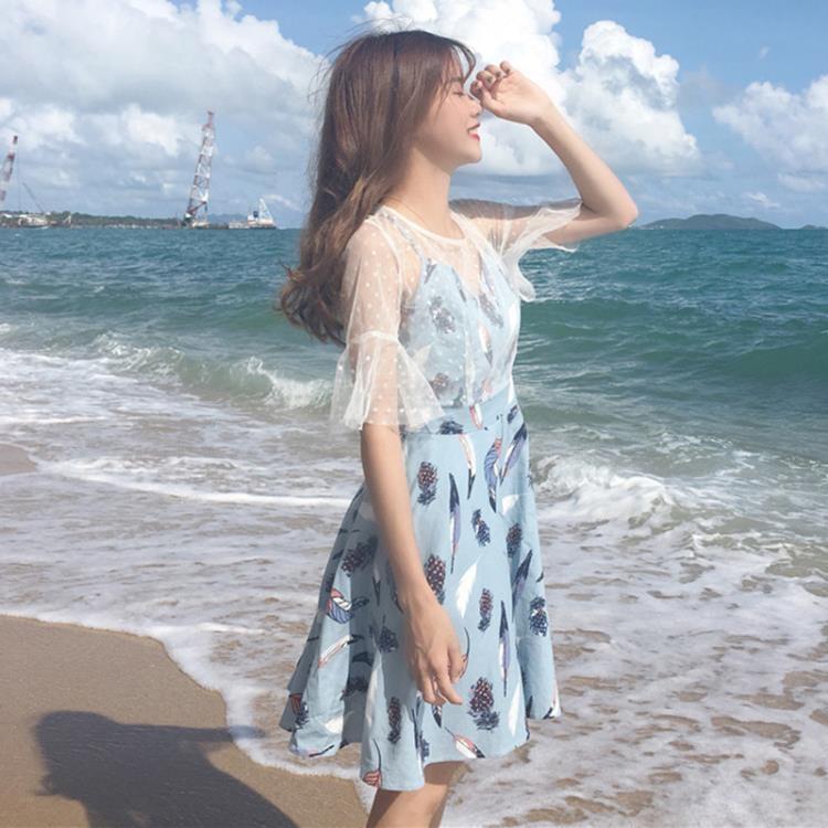 春夏女裝韓版氣質顯瘦百搭網紗吊帶連衣裙寬鬆中長款打底裙長裙潮