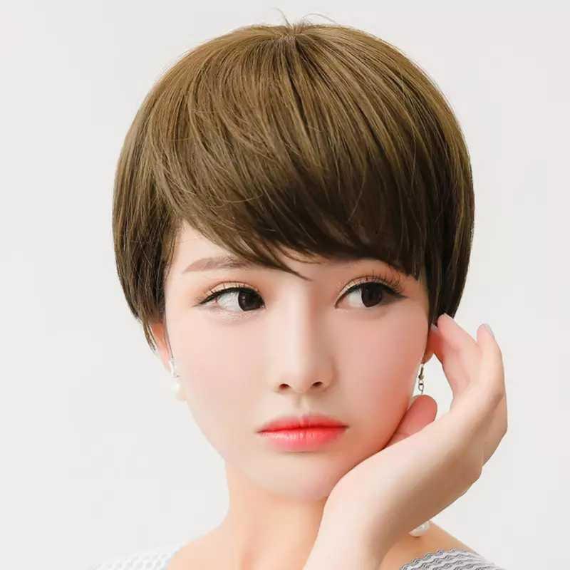 馬卡龍購物★女斜瀏海短直髮美拍直播造型必備整頂假髮