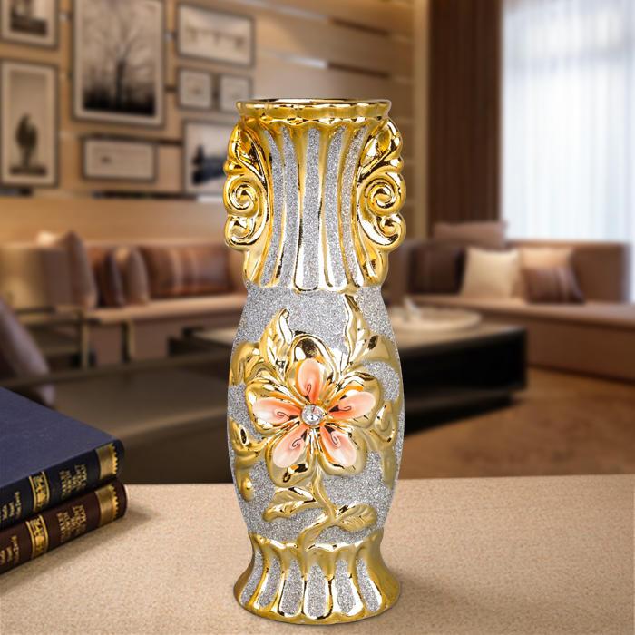 陶瓷中號歐式鍍金家居裝飾臺面花瓶花插磨砂擺件工藝品【潮咖地帶】